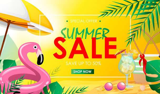 Summer sale banner with flamingo, beach umbrella, cocktail, beach bag. Vector illustration