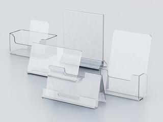 Obraz Plexiglass acryclic brochure hoders isolated on white background. 3D illustration - fototapety do salonu