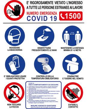 Cartello Sicurezza Covid Prescrizioni Cantiere