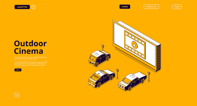 Outdoor cinema banner. Drive-in movie theater with cars on open air parking. Vector landing page of street auto cinema with isometric illustration of big screen and automobiles