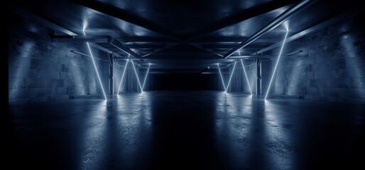 Neon Warehouse Sci Fi Futuristic Grunge Blue Glowing Laser Electric Concrete Hallway Hangar Showroom Corridor Club Dark Tunnel Realistic Background Beams 3D Rendering