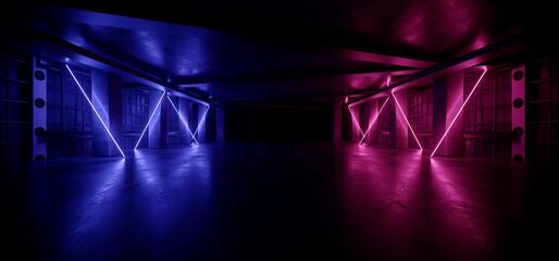 Neon Warehouse Sci Fi Futuristic Grunge Purple Blue Glowing Laser Electric Concrete Stage Showroom Corridor Club Dark Tunnel Realistic Background Beams 3D Rendering