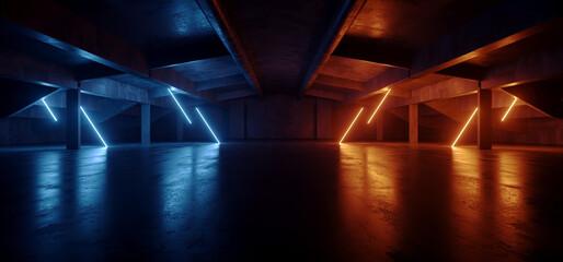 Neon Warehouse Sci Fi Futuristic Grunge Purple Blue Glowing Laser Electric Concrete Hallway Showroom Corridor Club Dark Tunnel Realistic Background Beams 3D Rendering
