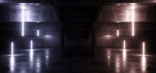 Neon Glowing Electric Sci Fi Futuristic Lights Beams On Cement Concrete Asphalt Hangar Parking Stage Showroom Dark Alien Modern Corridor Tunnel Warehouse 3D Rendering