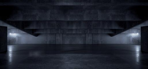 Realistic Garage Underground Blue Light Hallway Tunnel Corridor Sci Fi Futuristic Dark Parking Warehouse Cement Concrete Grunge Showroom Car Asphalt Stage 3D Rendering