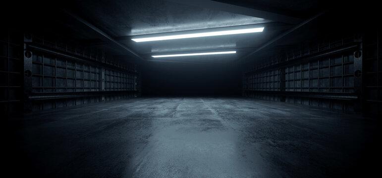 Dark Concrete Led White Lights Underground Tunnel Corridor Cement Asphalt Hallway Warehouse Tunnel Corridor Metal Structure Realistic Empty 3D Rendering