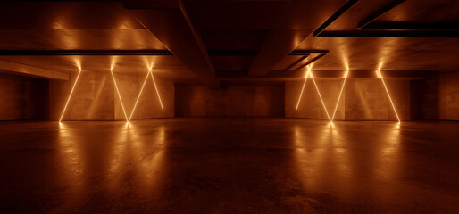 Neon Warehouse Sci Fi Futuristic Grunge Orange Glowing Laser Electric Concrete Hallway Hangar Showroom Corridor Club Dark Tunnel Realistic Background Beams 3D Rendering