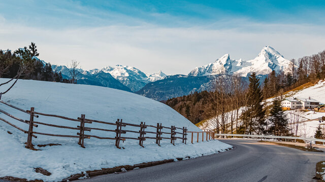 Beautiful winter view with the famous Watzmann summit in the background at Maria Gern, Berchtesgaden, Bavaria, Germany