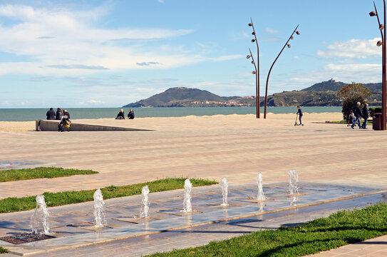 Der Sandstrand von Argeles sur mer