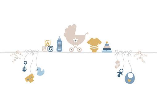 Baby Icons Linie Junge Retroblau/Senfgelb