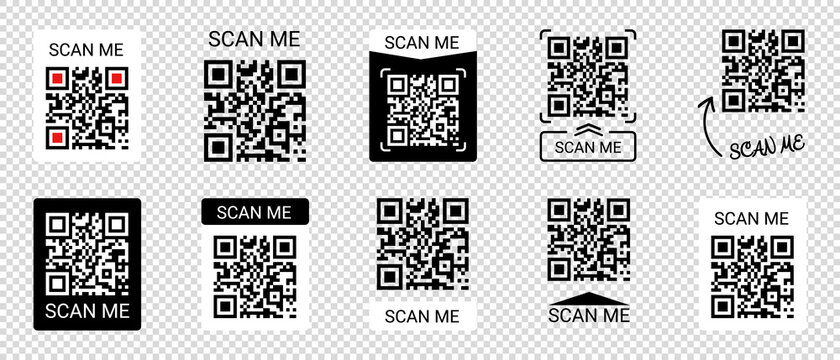 Mobile Smartphone QR Code Application Button With Scan Me Sign - Vector Illustrations Icon Set Isolated On Transparent Background
