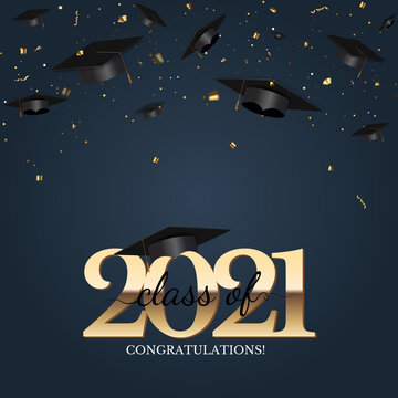 Graduation class of 2021 with graduation cap hat and confetti. Vector Illustration