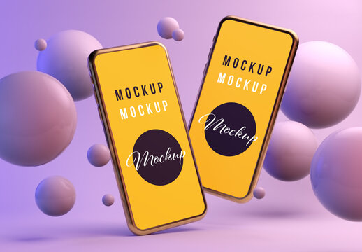 Two Floating Smartphones on a Purple Background with Spheres Mockup