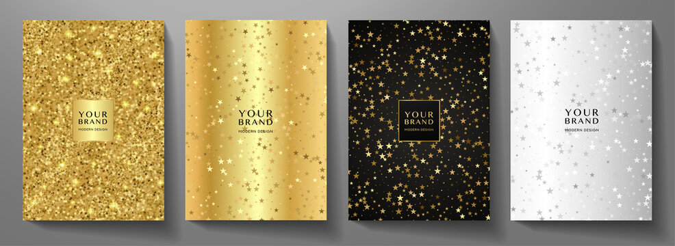 Modern holiday cover design set. Premium starry pattern (golden stars) on silver, gold, black background. Vector luxury collection for Christmas catalog, brochure template, booklet, gift card