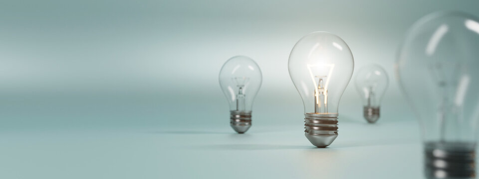 bulb on a blue background. 3D rendering.