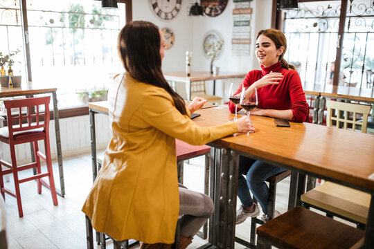Smiling female friends discussing while having wine at table in bar