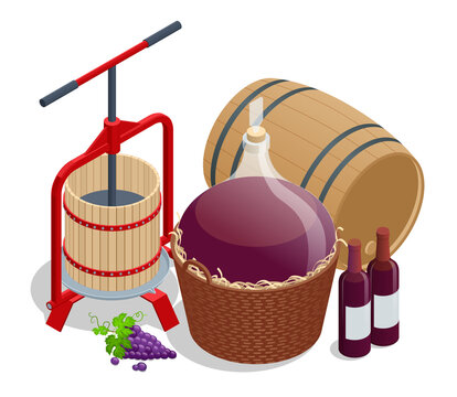 Isometric Wine production, crushing and pressing grapes, aging and bottling concept. Grape harvest Winepress with red must and helical screw
