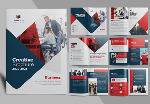 Red Corporate Brochure Layout Premium Vector Accents