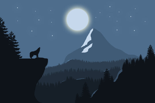 Silhouette of the lone wolf howling at the full moon in a starry night. Wildlife scene background illustration