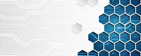 Fototapeta Wide Hi tech futuristic technology background. Abstract Engineering, Communication, Sci fi concept. Vector design with hexagons. obraz
