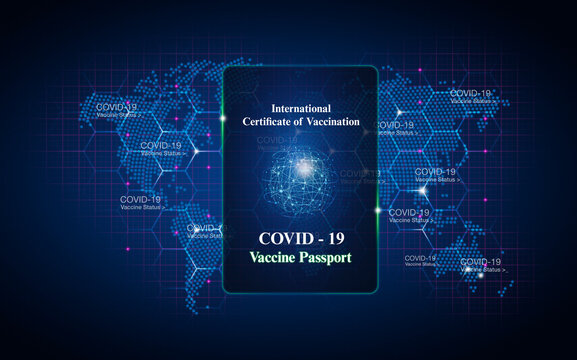 Digitally generated image Covid passport over blue map