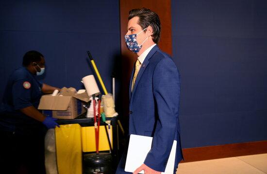 U.S. Representative Matt Gaetz (R-FL) walks to vote about House Republican Conference leadership