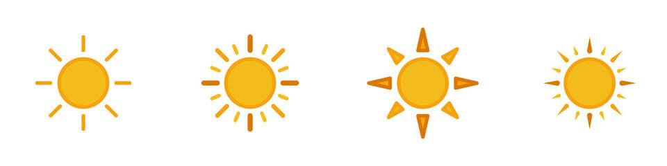 Obraz Conjunto de iconos de sol amarillo estilo silueta amarillo. Sol, astro, luz. Concepto de amanecer. Ilustración vectorial - fototapety do salonu