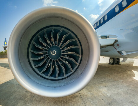 close-up of new designed Boeing 737-8 (Max) CFM LEAP high-bypass engine