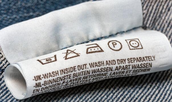Label care cloth symbol laundry instructions