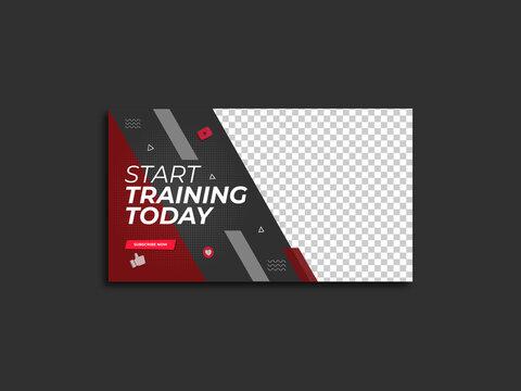 Gym exercise youtube thumbnail & video thumbnail template