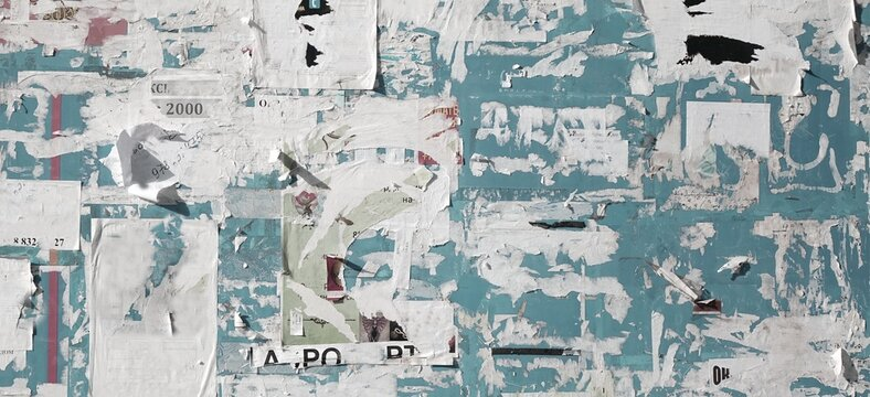 Vintage Billboard with Torn Poster, Paper, Ads, Stickers Wide Background Or Texture. Urban Creative Wallpaper for Design. Abstract Web Banner. Panoramic Backdrop and Creative Surface.