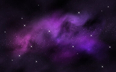 Space background. Colorful nebula clouds and stars. Realistic galaxy with stardust. Starry milky way. Abstract cosmic wallpaper. Vector illustration