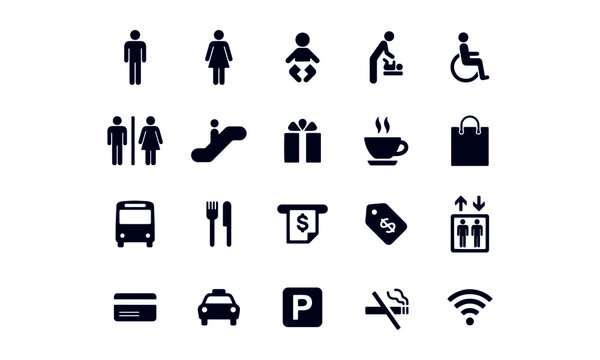 Public and Shopping Mall Icons vector design