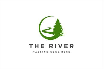 Fototapeta Landscape River Creek Logo Design, Vector Nature Brand Logo obraz