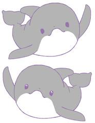 挙手するイルカ2種(灰色)