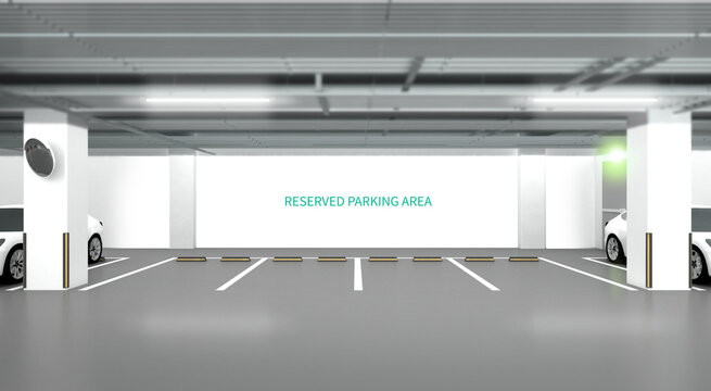 Parking lot 3d illustration. car park with white wall.