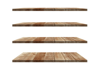 Fototapeta A collection of brown wooden shelves on a white background that separates the objects. There are clipping paths for the designs and decoration obraz