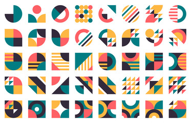 Fototapeta Abstract bauhaus shapes. Modern circles, triangles and squares, minimal style bauhaus figures vector illustration set. Graphic style design elements obraz