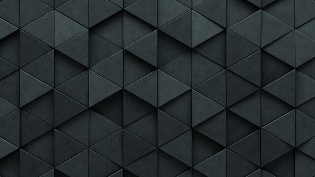 3D, Futuristic Wall background with tiles. Polished, tile Wallpaper with Concrete, Triangular blocks. 3D Render