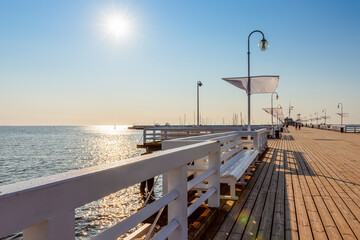 famous long wooden pier on a Baltic sea