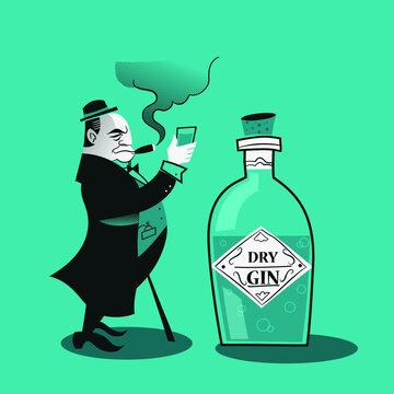 Vector illustration - Retro London Dry Gin poster with Winston Churchill