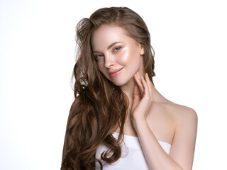 Fototapeta Young beautiful model with beautiful healthy skin and perfect hairstyle female model portrait obraz