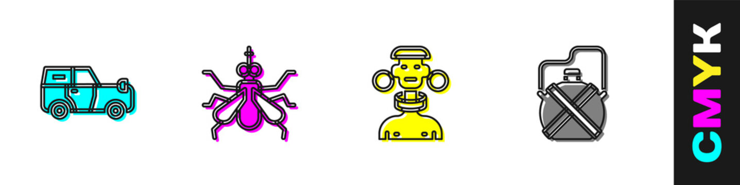 Set Off road car, Mosquito, African tribe male and Canteen water bottle icon. Vector