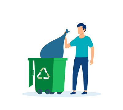 Vector of a man throwing away trash into trash bin with recycling symbol