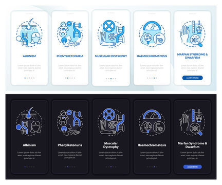 Most common genetic disorders onboarding mobile app page screen with concepts. Illness walkthrough 5 steps graphic instructions. UI, UX, GUI vector template with linear night, day mode illustrations