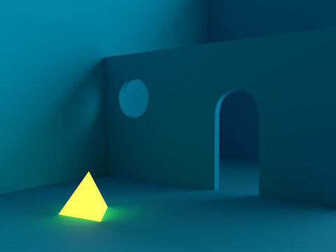 A blue room with a wall with a door and a circular window and also a glowing yellow pyramid. 3d render