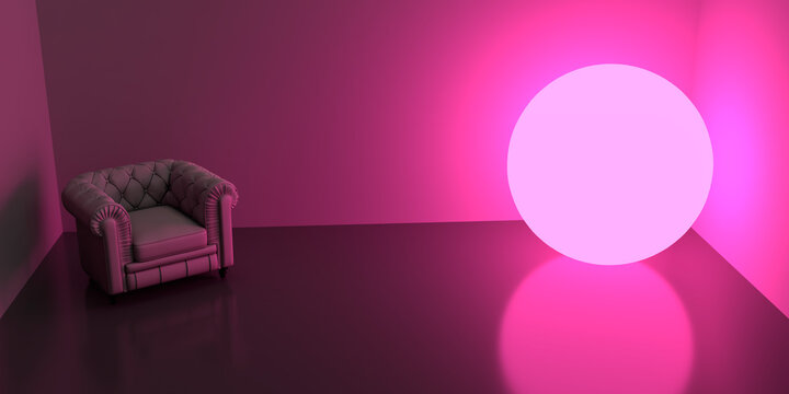 A dark room with an armchair in the left side and a glowing purple sphere lamp in the right side. 3d render