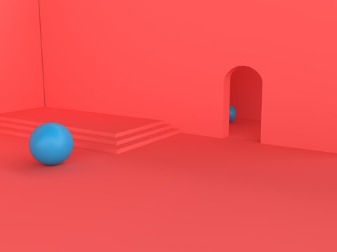 A red modern room with to blue spheres inside. 3d render
