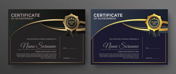 Fototapeta Golden black certificate template design. obraz