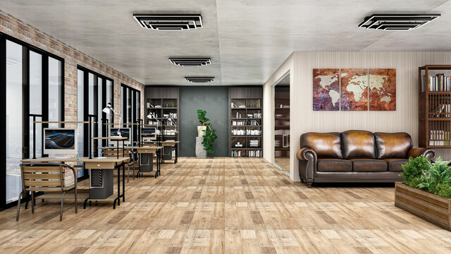 Stylish light industrial office, photorealistic 3D Illustration of the interior, suitable for using in video conference and as a zoom background.